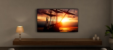 Imagen de un televisor en un salón para mostrar la tecnología Ambient Optimization