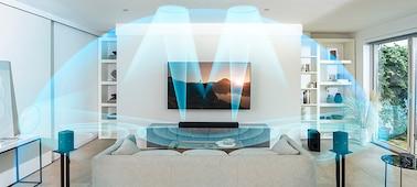 Altavoces traseros SA-RS3S en pedestales en un salón con sofá, la barra de sonido HT-A5000 en un mueble y un TV grande
