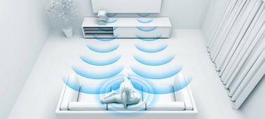 Imagen que muestra las ondas sonoras con optimización para la habitación