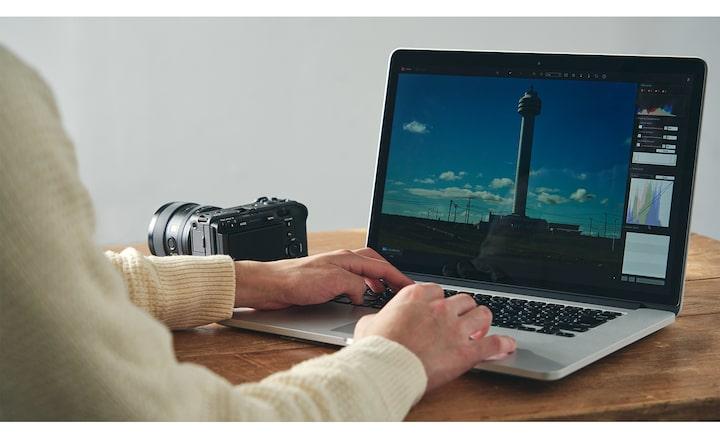 Imagen del proceso de edición con Imaging Edge en PC