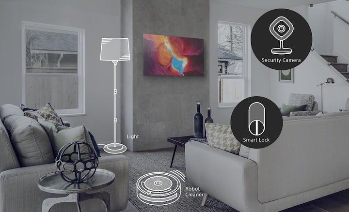 Escena en sala de estar que muestra cómo el Asistente de Google crea un hogar más inteligente