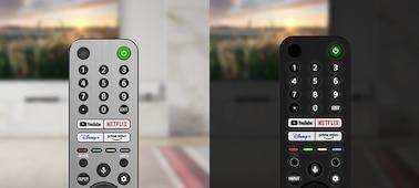 Imagen del mando a distancia retroiluminado en entornos diurno y nocturno