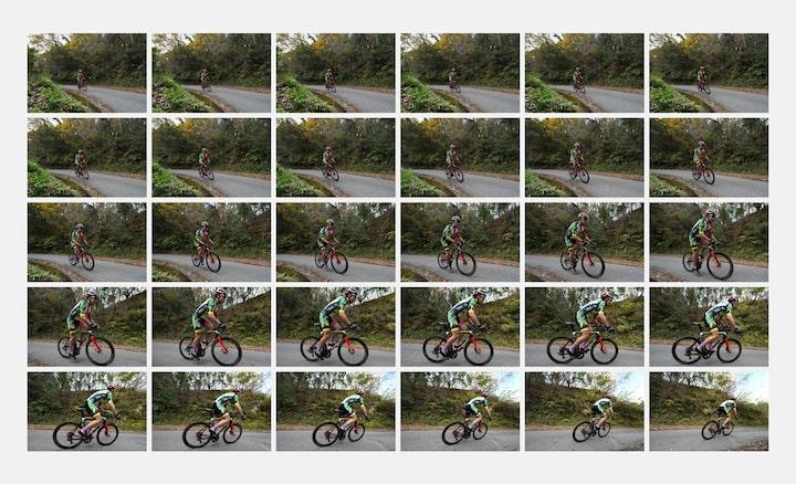 30 imágenes de captura continua de un ciclista