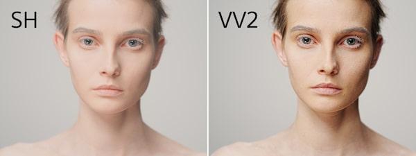 Dos imágenes de modelo con diferentes perfiles de color