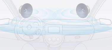 Imagen de los altavoces con organizador dinámico de sonido dentro del salpicadero.