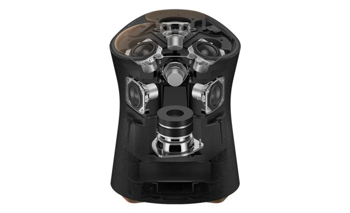 Vista interna del SRS-RA5000 que muestra sus siete unidades de diafragma