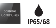 Logotipos de Corning Gorilla Glass e IP65/68