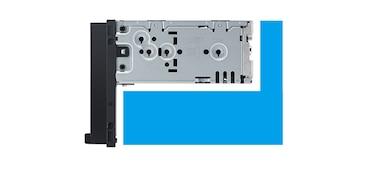 """Primer plano del chasis posterior del receptor multimedia DAB de 17,6cm (6,95"""") con WebLink Cast."""