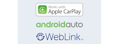 Logotipos de Apple CarPlay, Android Auto y WebLink