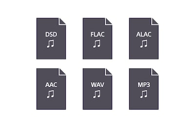 Logotipos de los formatos de audio compatibles