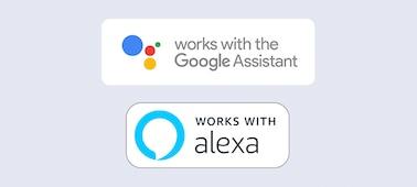 Logotipos de Compatible con Alexa y Compatible con el Asistente de Google