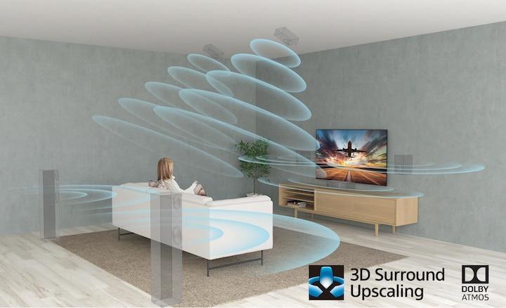 Escena de sala de estar mostrando el efecto de sonido Surround con XR Surround