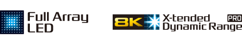 Logotipos de Full Array LED y 8K X-tended Dynamic Range PRO