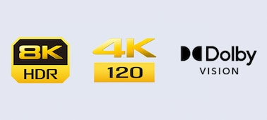 Logotipos de 8K HDR, 4K 120 y Dolby Vision