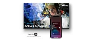 Imagen que muestra una película en pantalla con smartphone